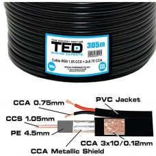 Cablu coaxial negru, RG6, 75Ohms, CCS + 2 x 0,75