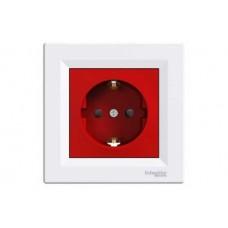 Priza simpla cu obturatoare IP20 rosie Schneider Asfora EPH2900521