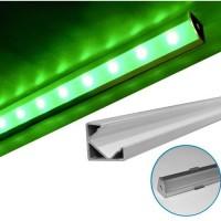 Profil aluminiu,pentru banda LED, aparent, de colt, 1m